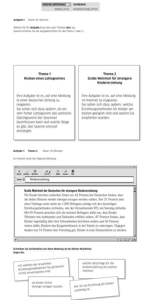 Kindererziehung Auch Goethe Modellsatz B2 Lerne German Italki